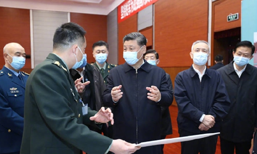 Chinese President Xi Jinping on a visit to two institutes in Beijing in March (Xinhua)