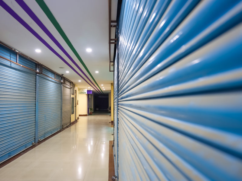 Alley Of A Mall Showing Closed Shops During Lockdown