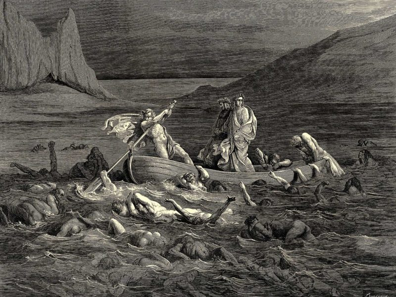 Charon ferrying Dante and Virgil across the river Styx